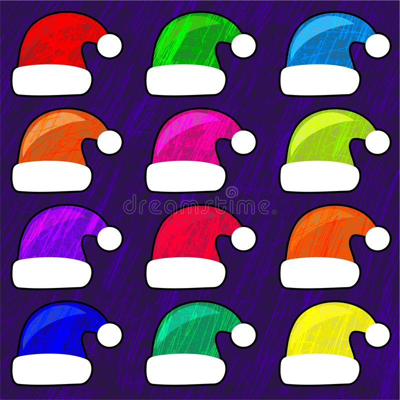 Funky santa hats royalty free illustration