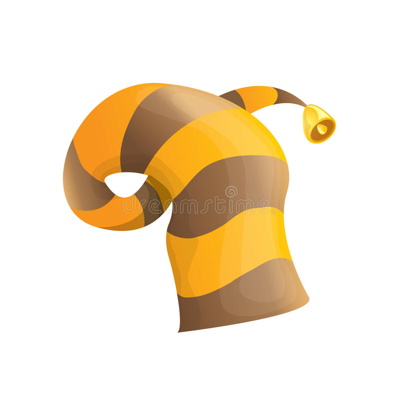 Funky stripped cartoon christmas vector elf hat. Funky orange and brown stripped cartoon christmas vector elf hat isolated on white. vector elf hat icon or label vector illustration