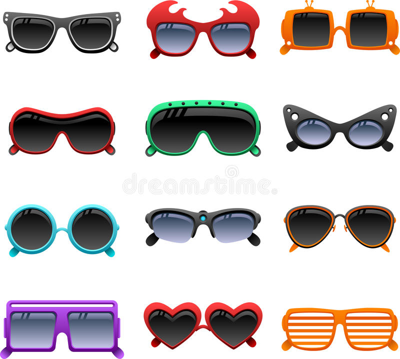 Funky sunglasses icons vector illustration