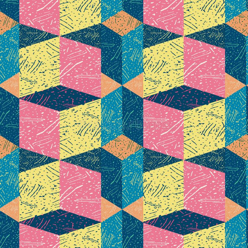 Free Funky Textured Rectangle Block Design In Blue, Pink, Orange And Yellow. Seamless Isometric Vector Pattern With 3d Effect Royalty Free Stock Photos - 160119048