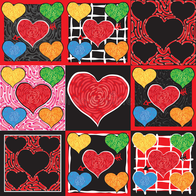 Funky Valentine Hearts vector illustration