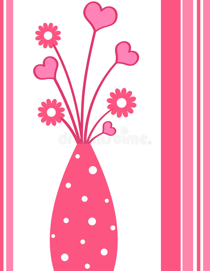 Funky vase. Funky pink hearts and flowers in a vase stock illustration