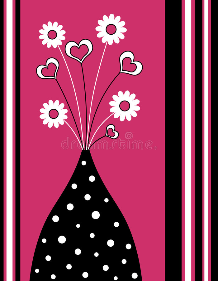 Funky vase. With flowers and hearts with stripes royalty free illustration