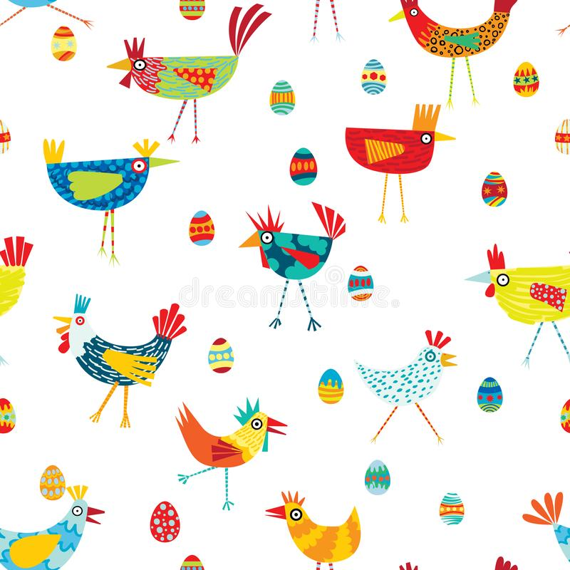 Funky vector repeat patern of colorful chickens stock illustration