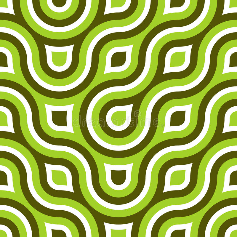 Funky Wild Circle Seamless Pattern Lime Green royalty free illustration