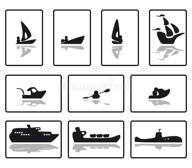 funkyboats1 royaltyfri illustrationer