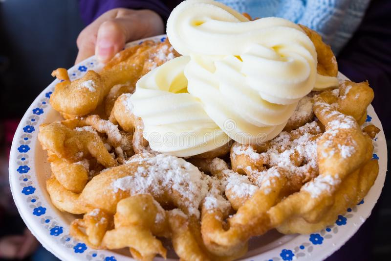 Funnel Cake with Soft Ice Cream stock images