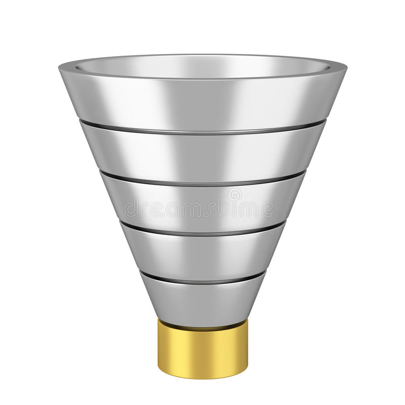 Funnel chart. 3d illustration on white background royalty free illustration