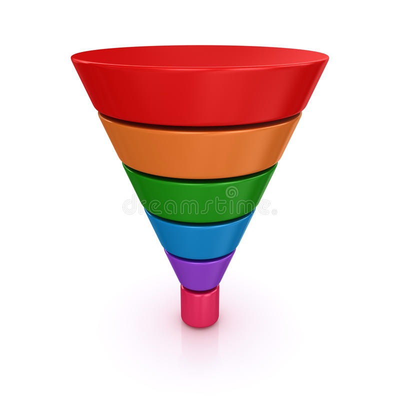 Funnel chart. 3d render and computer generated image. on white stock illustration