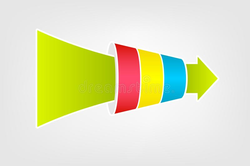 Funnel chart diagram. Infographic clipart isolated on white background stock illustration