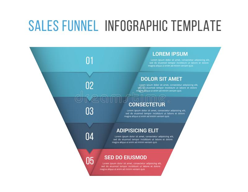 Funnel Diagram Template. Funnel diagram, 5 segments, infographic template for web, business, presentations vector illustration