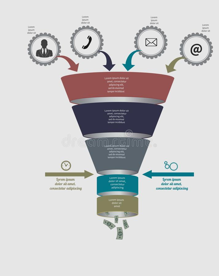 Funnel flow chart. Vector Template for diagram. Funnel flow chart. Vector infographic. Template for diagram, graph, presentation and chart. Business concept with stock illustration
