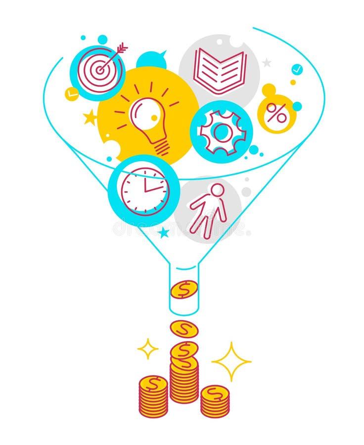 Funnel flow concept illustration. Funnel flow concept. Modern line style illustration. Process of conversion ideas, time, information, technologies to money vector illustration