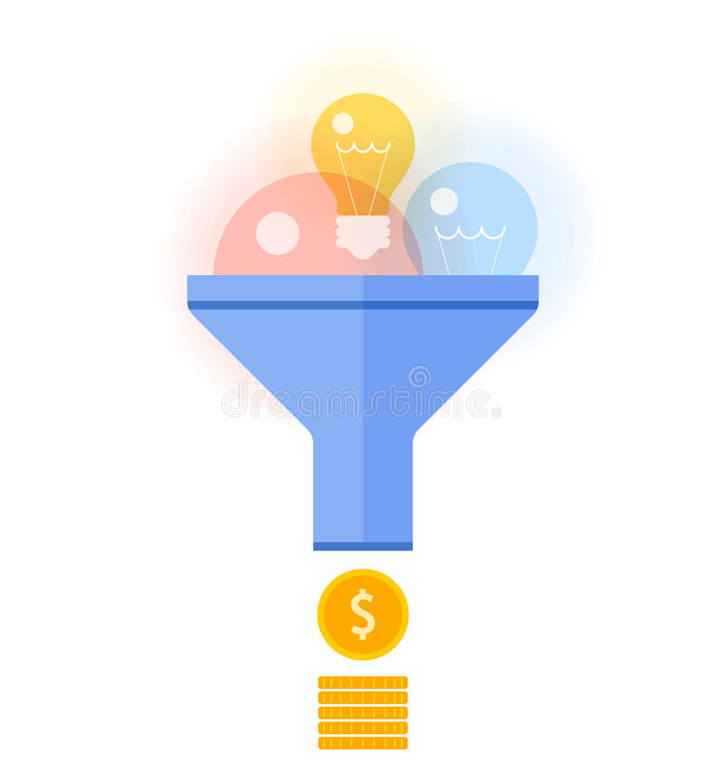 Funnel flow converts ideas, innovations to money flat vector con. Funnel flow converts bulbs to money concept. Flat illustration of transform ideas, inspiration vector illustration
