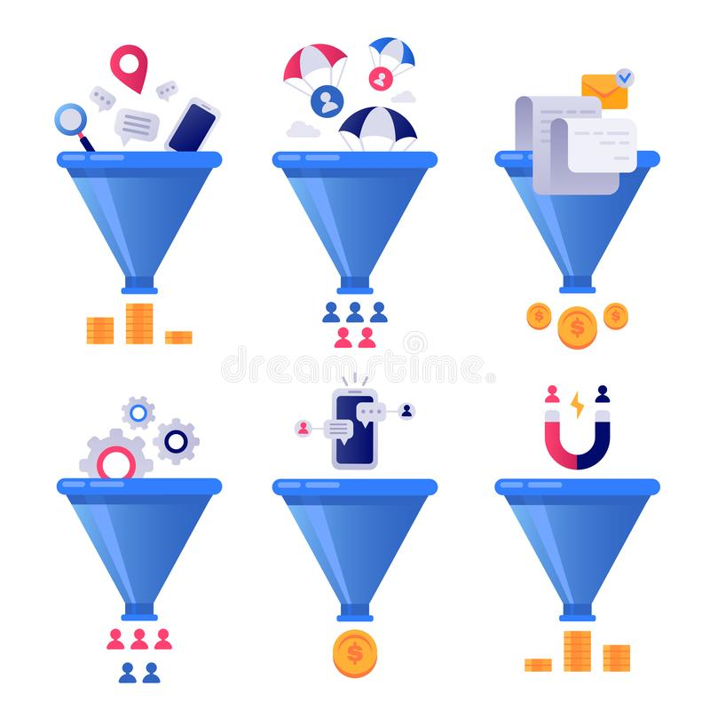 Funnel generation sales. Business lead generations, mail sorter funnels and pipeline sale optimisation vector concept. Funnel generation sales. Business lead royalty free illustration