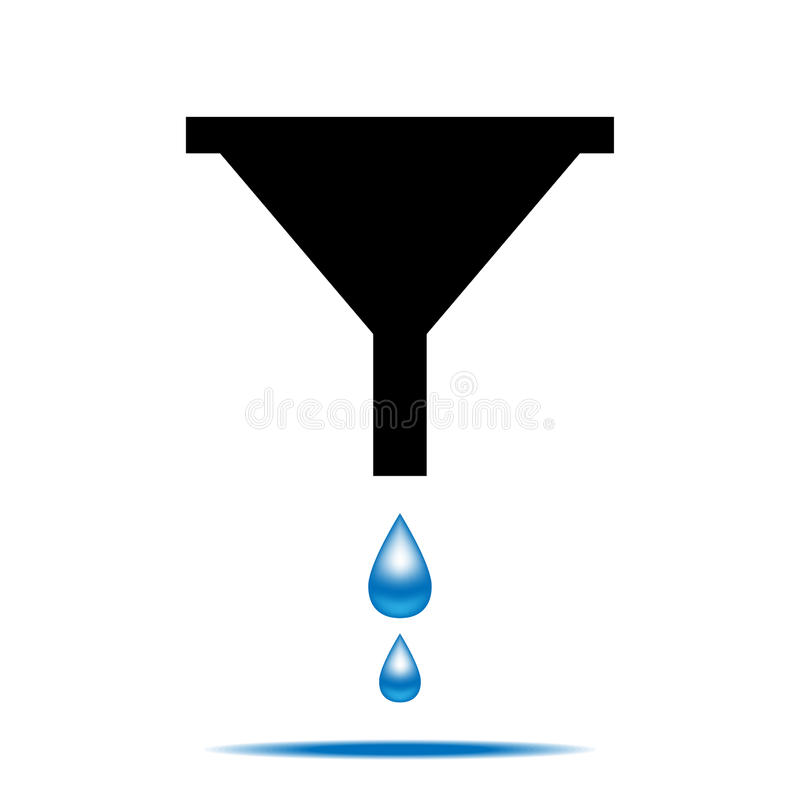 Funnel icon with drops of water vector illustration