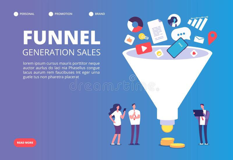 Funnel sale generation. Digital marketing funnel lead generations with buyers. Strategy, conversion rate optimization stock illustration