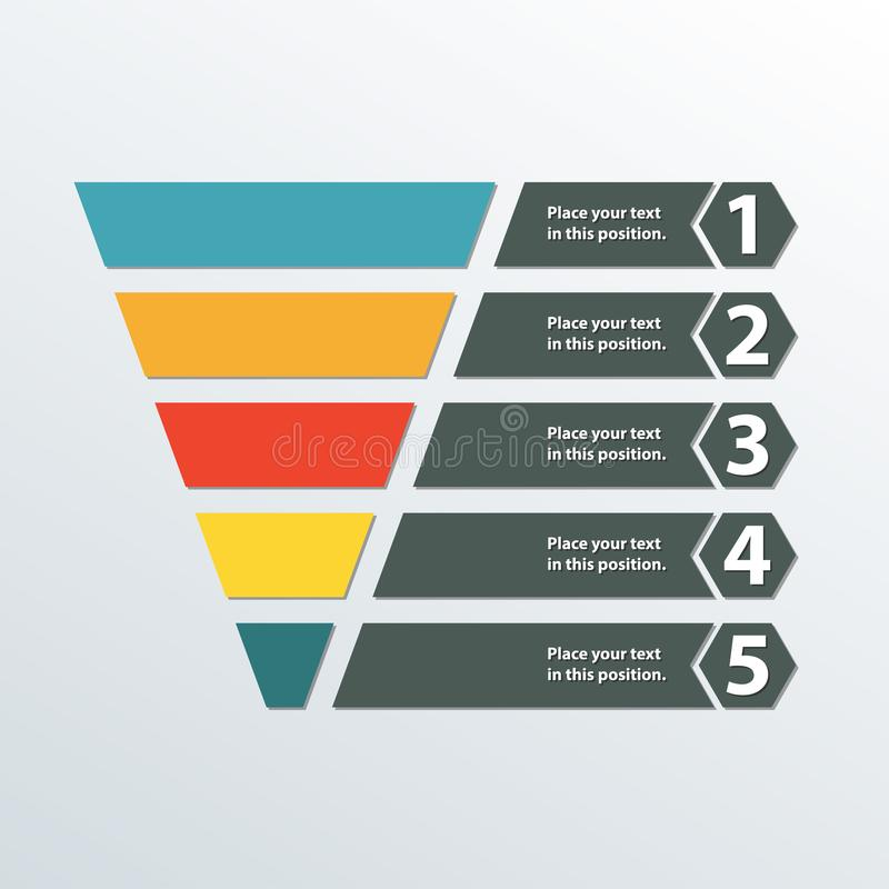 Funnel symbol. Marketing and sales template. Business infographic design element. Colorful vector illustration. Funnel symbol. Marketing and sales template royalty free illustration