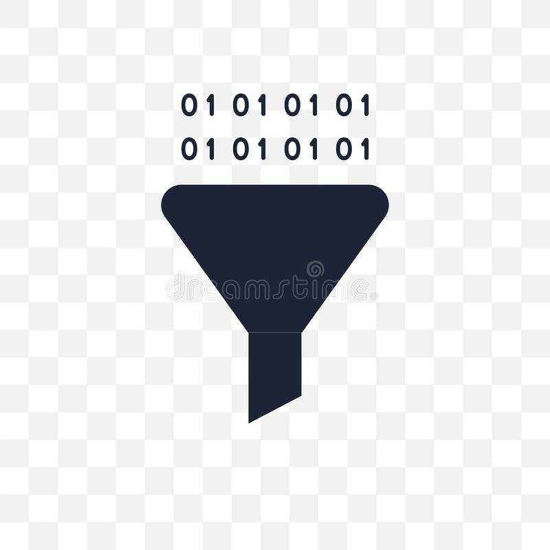 Funneling Data transparent icon. Funneling Data symbol design fr stock illustration