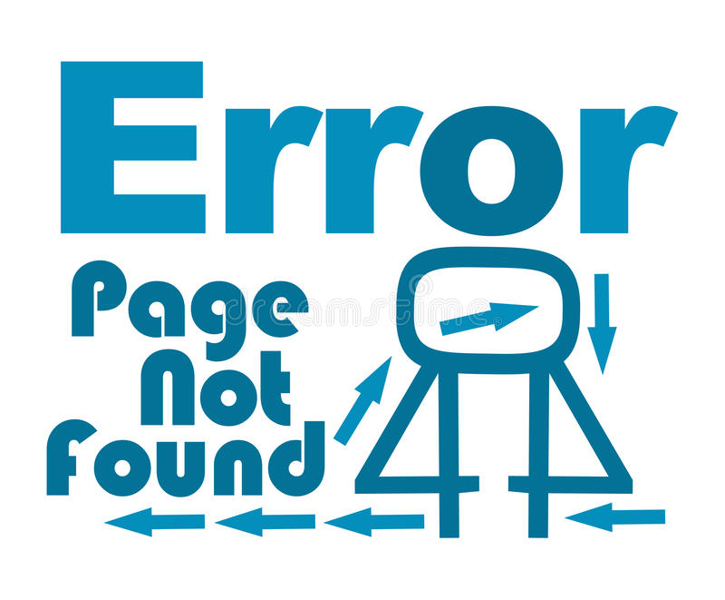 Funnen blå text för sida inte med pilar royaltyfri illustrationer