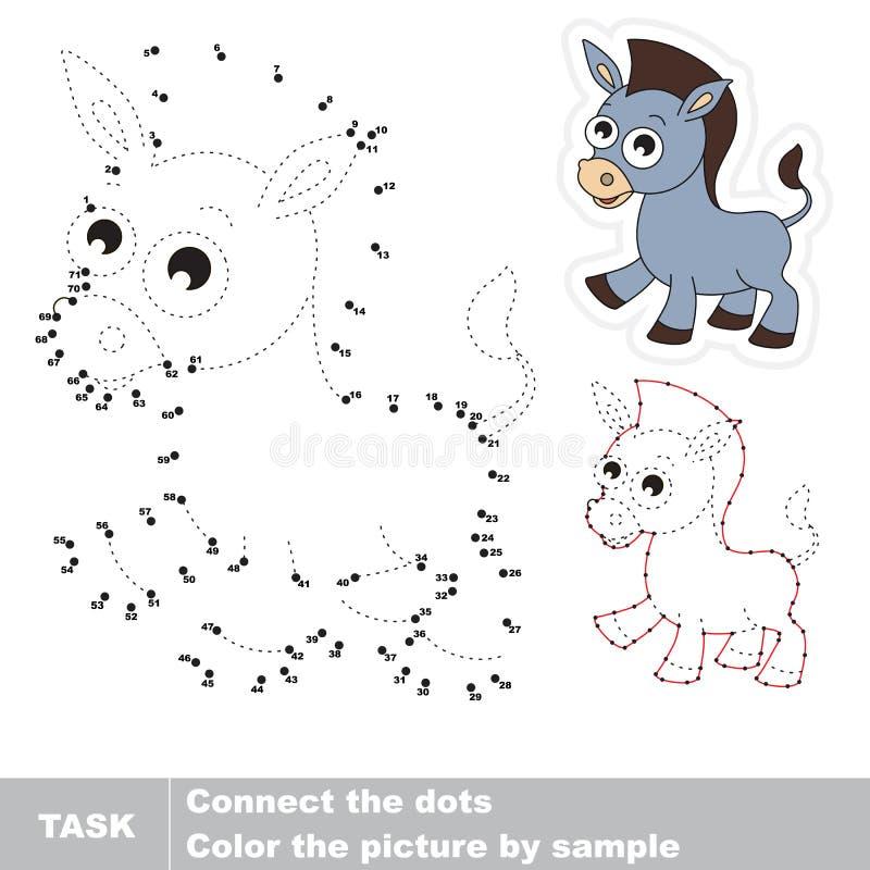Funney grijze ezel Vectoraantallenspel stock illustratie