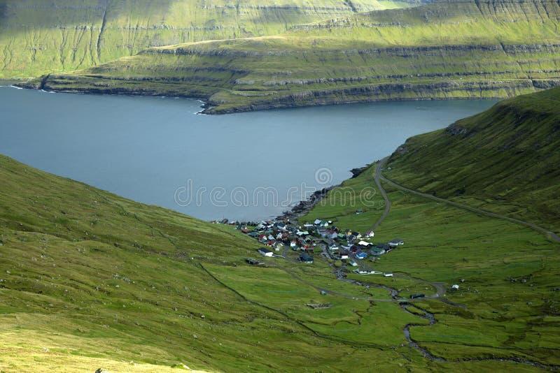 Funningur, Faroe Islands. Funningur village, Faroe Islands, Calm summer scene of Eysturoy island. Traveling concept background stock photography