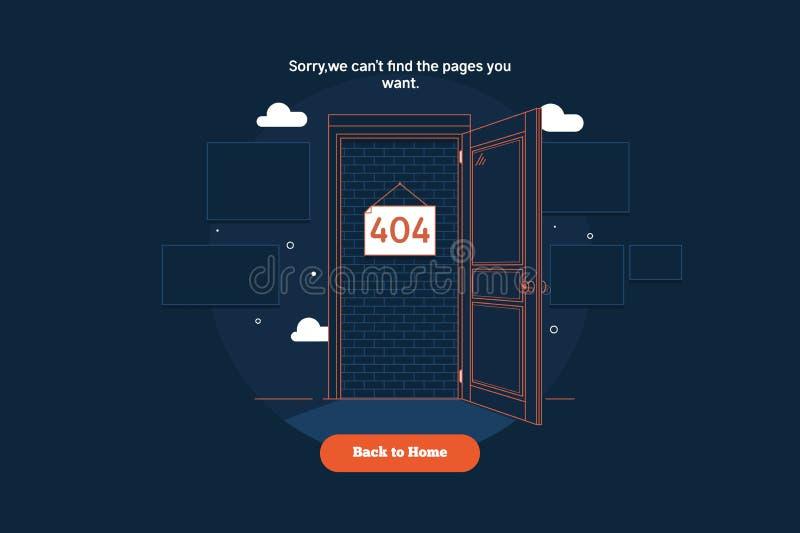 Funnit fel 404 för sida inte dörrbegrepp Gör linjen färgrik plan vektorillustration tunnare royaltyfri illustrationer
