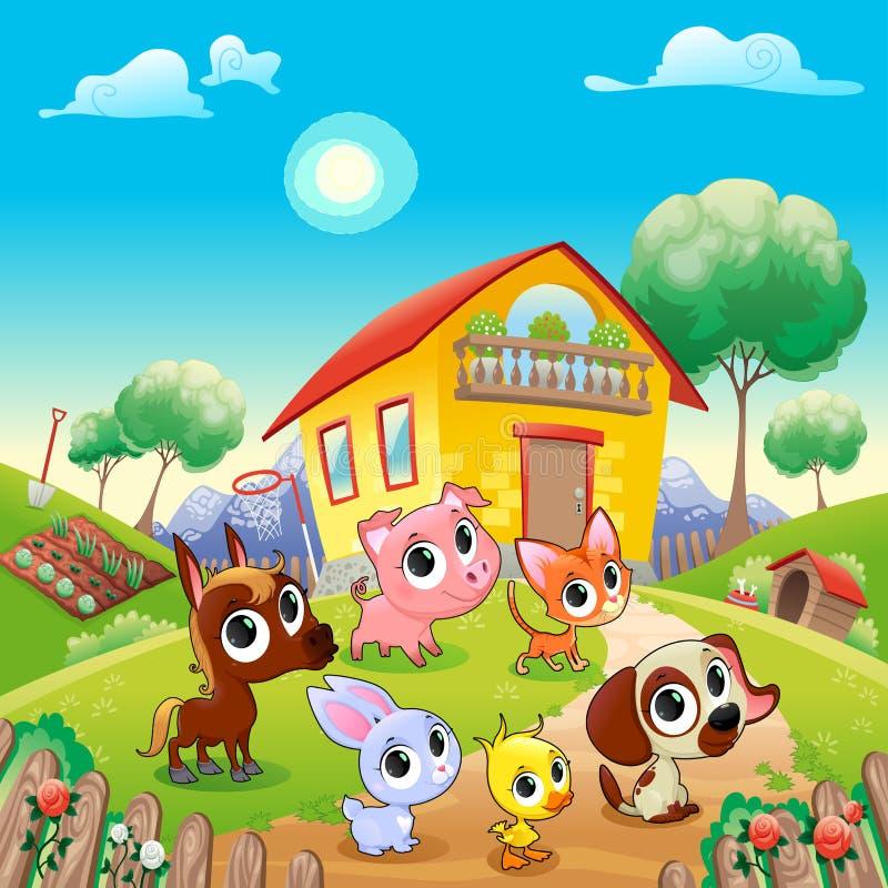 Funny农场动物在庭院里 向量例证