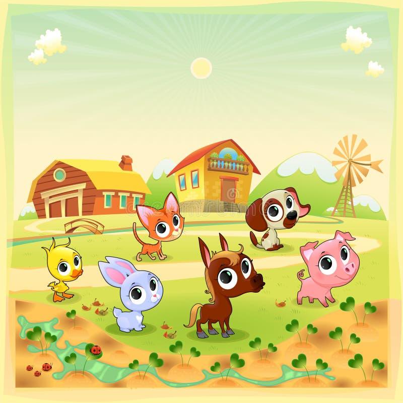 Funny农场动物在庭院里 库存例证