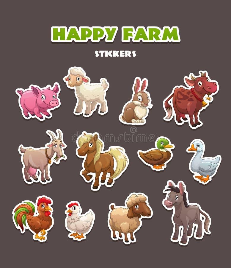 Funny农场被设置的动物贴纸 向量例证
