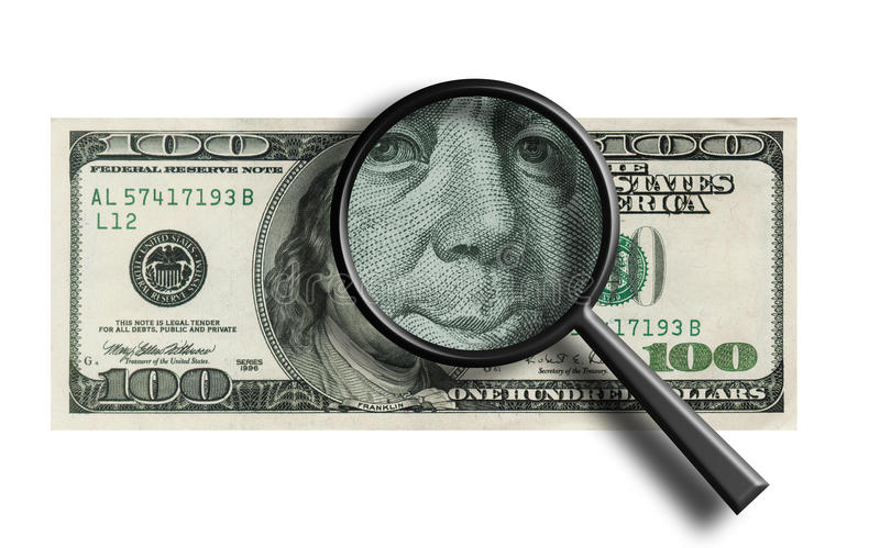 Download Funny $100 Banknote Through The Magnifier Stock Illustration - Illustration: 13193990
