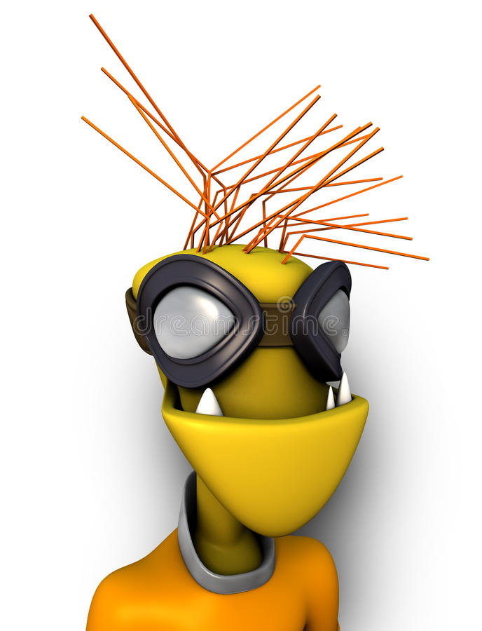 Funny 3d Alien with Goggles royalty free stock photos