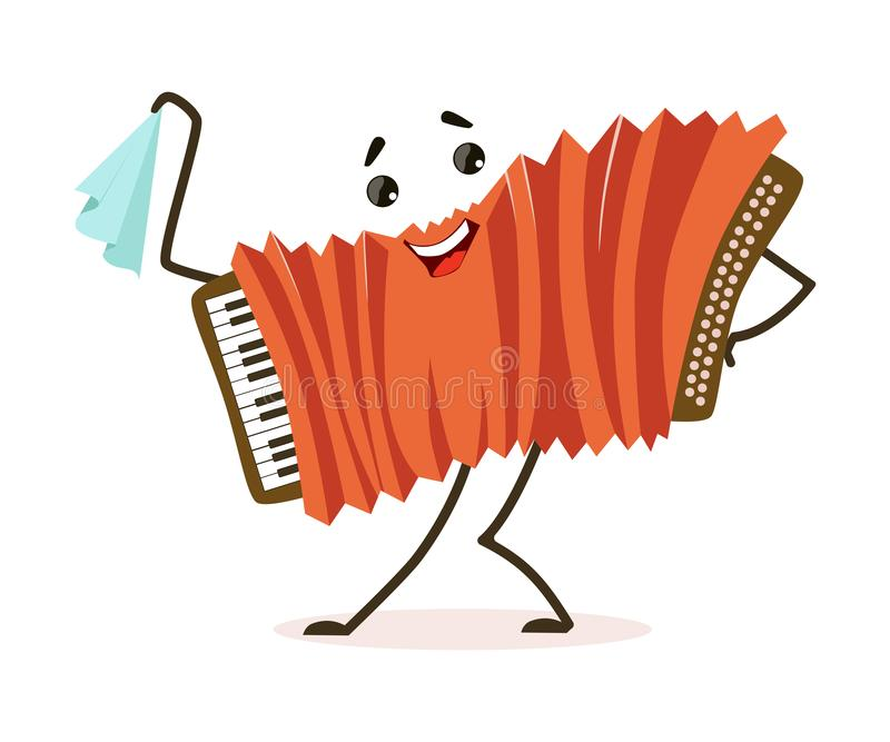 Funny Accordion Musical Instrument Cartoon Character Vector Illustration. On White Background stock illustration