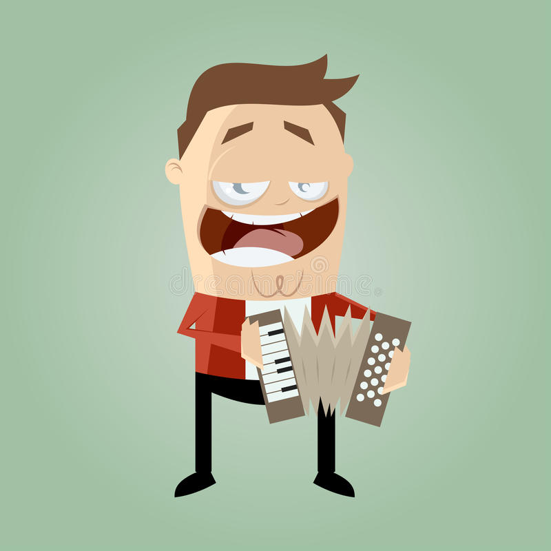 Funny accordion player stock illustration