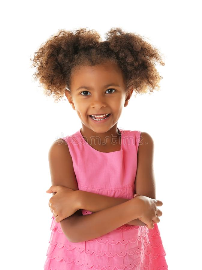 Funny African American girl isolated royalty free stock photo