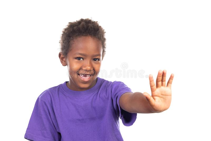 Funny african child saying Stop with his hand royalty free stock image