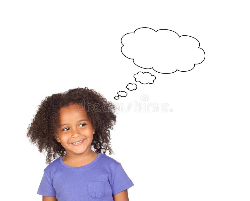 Funny african girl with afro hairstyle thinking stock photography