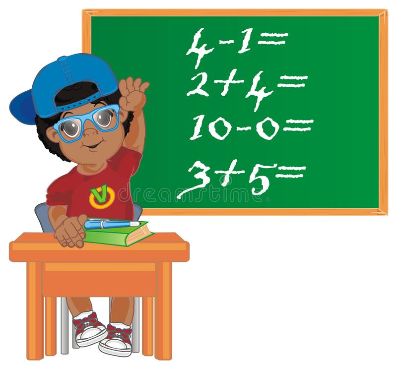 Afro pupil and examples. Funny afro pupil at school and many examples royalty free illustration