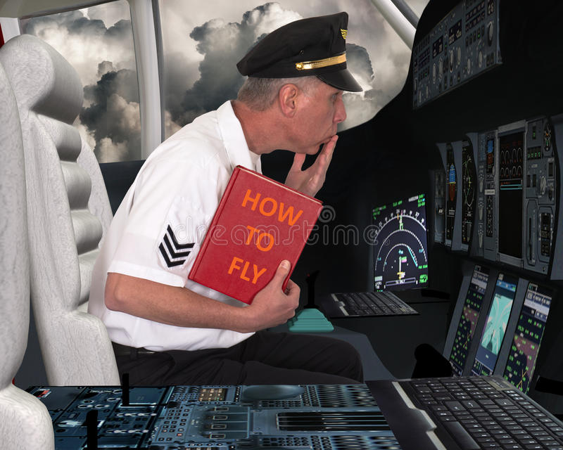 Funny Airline Pilot Learn to Fly. A funny airline pilot needs some job training and going over safety rules. The aviator has a Learn to Fly book in the jet stock image