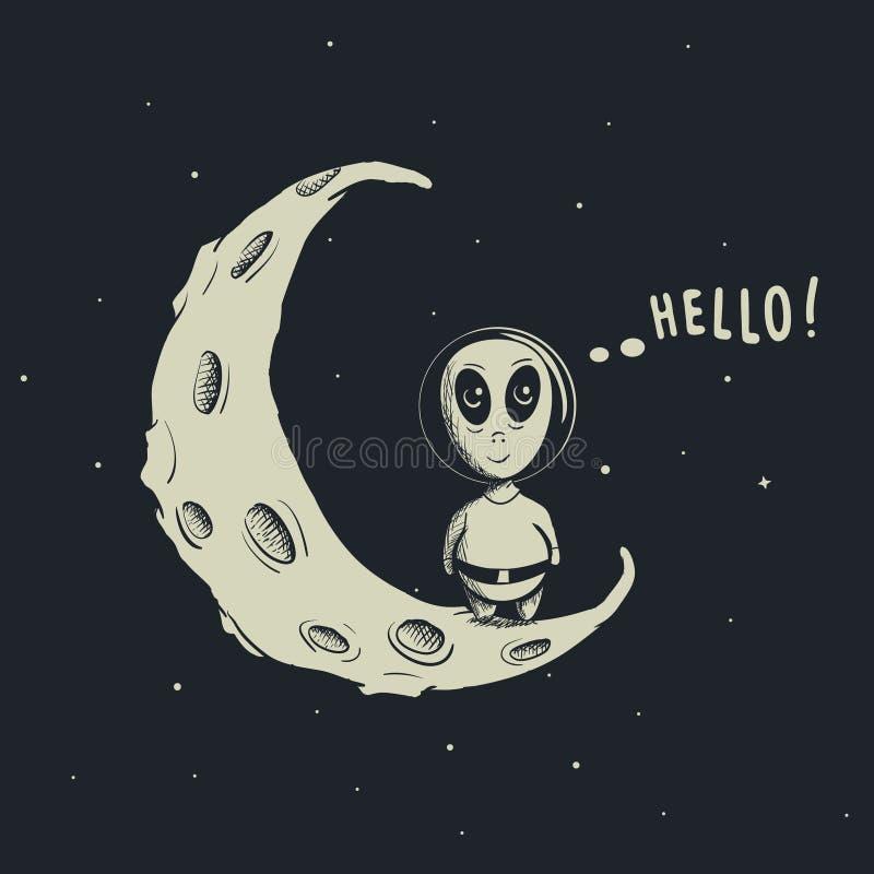 Funny alien astronaut stock illustration