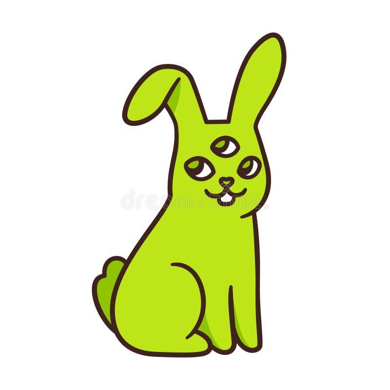 Funny alien mutant rabbit. Funny green alien rabbit drawing. Cute cartoon radioactive mutant bunny with 3 eyes. Isolated vector illustration stock illustration