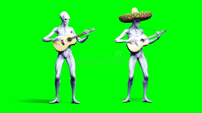 Funny alien plays on acustic guitar. Realistic motion and skin shaders. 3d rendering. royalty free illustration