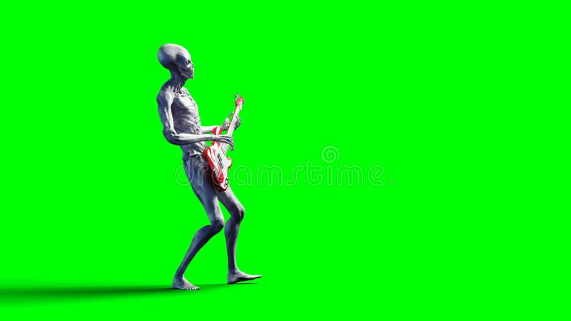 Funny alien plays on bass guitar. Realistic motion and skin shaders. 3d rendering. stock illustration