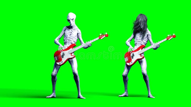 Funny alien plays on bass guitar. Realistic motion and skin shaders. 3d rendering. royalty free illustration