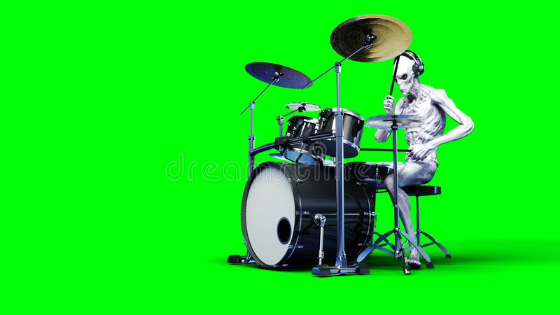 Funny alien plays on drums. Realistic motion and skin shaders. 3d rendering. royalty free illustration