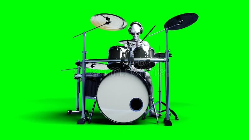Funny alien plays on drums. Realistic motion and skin shaders. 3d rendering. vector illustration