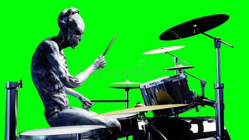 Funny alien plays on drums. Realistic motion and skin shaders. 3d rendering. stock illustration