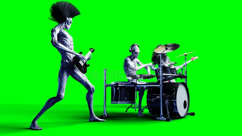 Funny alien rock band. Bass, drum, guitar. Realistic motion and skin shaders. 3d rendering. stock illustration