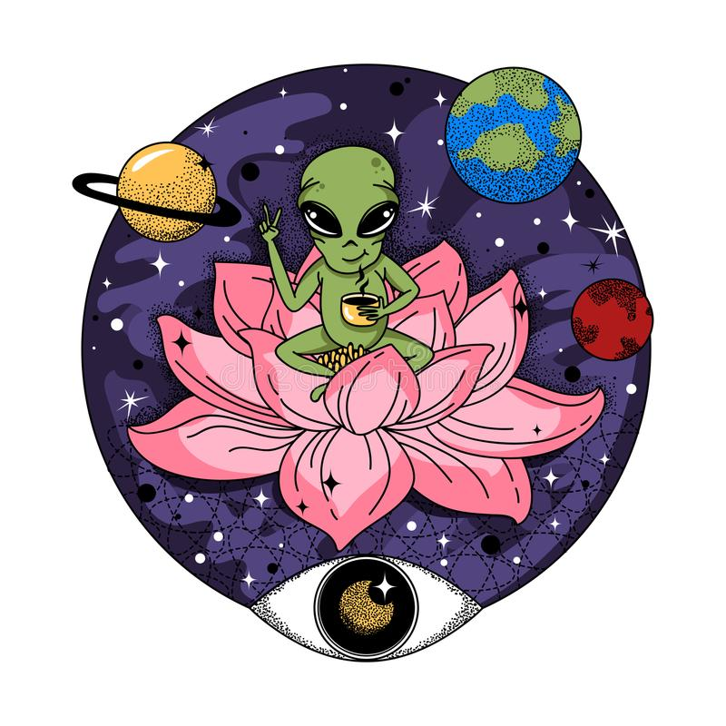 Funny alien sits on a pink jug and drinks coffee in space. royalty free illustration