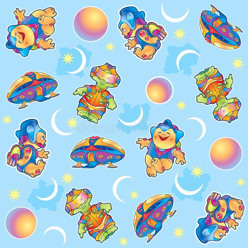 Funny aliens pattern vector illustration